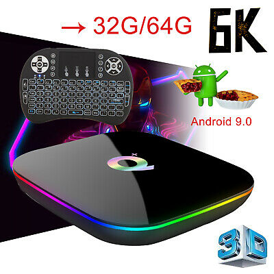 Newest 6K Android 9.0 Q Plus 32/64G Quad Core Smart TV Box With Backlit Keyboard