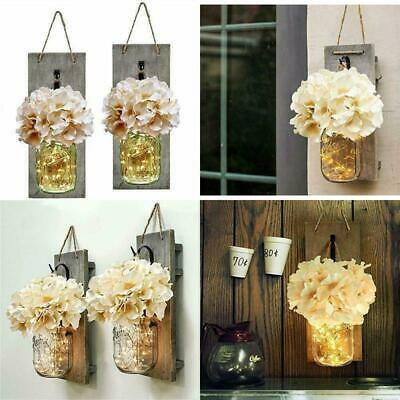 Handmade Mason Jar Sconce Rustic Home Wall Decor LED Fairy Lights Wall Art Decor