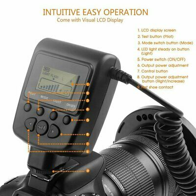 Macro LED Ring Flash Light with LCD Display Adapter Rings for Canon for Nikon HC