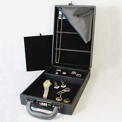 "Compact Jewelry Attache Carrying Case w Combo Lock 8 1/2"" x 12 1/8"" x 2 1/4""H"