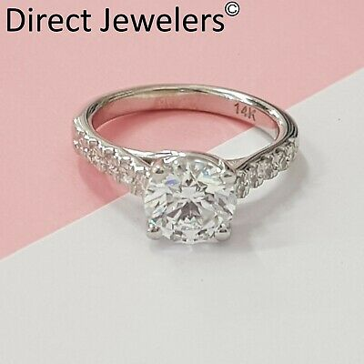 2.75CT Round cut 14K white gold diamond engagement ring D SI1 CERTIFIED