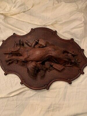 """Pair  Black Forest Carved 26"""" Wall Plaque, 'Fruits of the Hunt' Deer"""