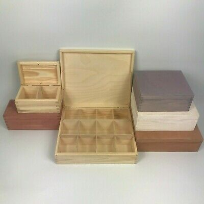 Engraved Painted/Plain Personalised Wooden Compartment Boxes Large/Small Tea Box