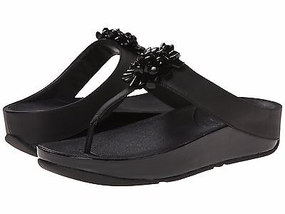 64407363d8f NEW FITFLOP WOMEN Sz8US BLOSSOM BEADED FLORAL SANDALS LEATHER BLACK