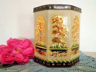 Vintage Tin Tea Caddy Peek Frean Biscuit Tin Gold Deer Appointment To The Queen