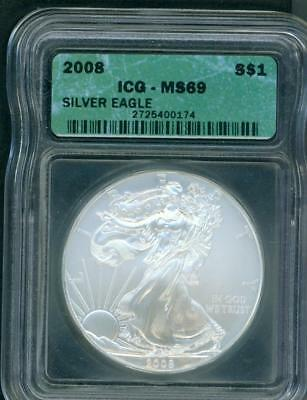 2008 ( 2008-P ) American Silver Eagle ASE  ICG MS69 S$1 MS-69 BEAUTIFUL