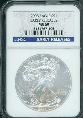 2008 American Silver Eagle ASE S$1 NGC MS69 EARLY RELEASES ER