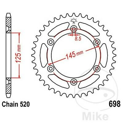 JT Rear Sprocket 44T 520P JTR698.44 Steel Cagiva W8 125 1998-2000
