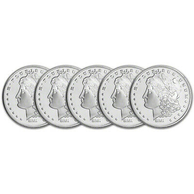 FIVE (5) 1 oz. Silver Round - Sunshine Morgan - .999 Fine