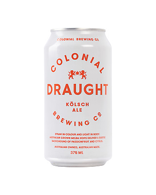 Colonial Brewing Co. Draught Kolsch Ale Cans 375mL Beer case of 24