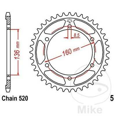 JT Rear Sprocket 43T 520P JTR5.43 Steel Beta Jonathan 350 2005