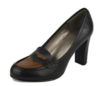 6eda2c8401c0 TAHARI Salena women s loafer black brown leather upper pumps heels size 9M