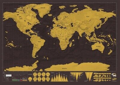 Large Scratch Off Map World Deluxe Personalized Travel Record