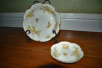 Cheap Price Antique Victorian Warwick Pottery Wheeling W Va Three Toed Berry Bowl W Tray Other China & Dinnerware