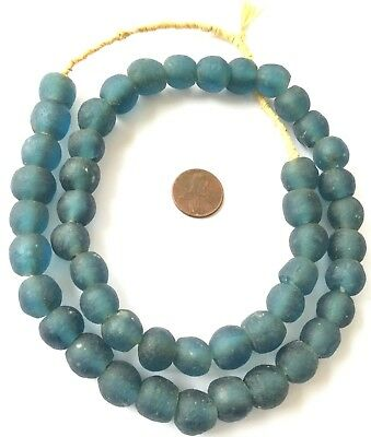 13mm Handmade Teal Krobo recycled Glass African trade Beads-Ghana