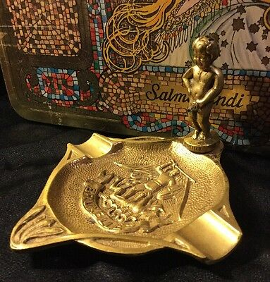 Vintage Art Deco Collectable Solid Brass French Statue Boy Angel Cherub Ashtray