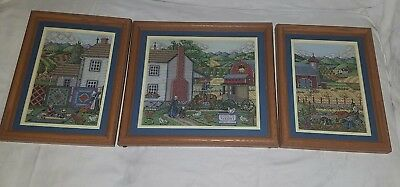 Set of 3 Vintage Amid Amish Life Farm Cross Stitch Completed Framed Quilts Barn