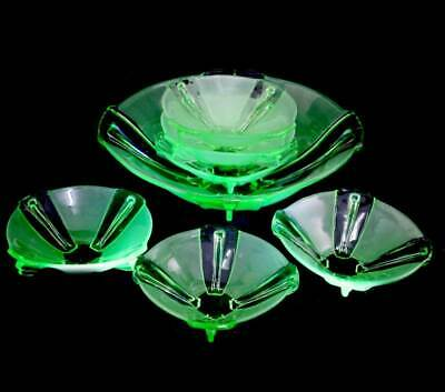 Vintage Stolzle green frosted & clear uranium glass UV glow 7 piece bowl set