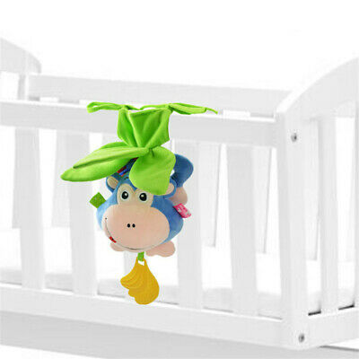 Baby Rattle Toy Bendable Monkey Baby Crib Hanging Pull Bell Toy Music+Teether B