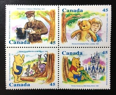 Canada #1618-1621a MNH, Winnie the Pooh Block of Stamps 1996