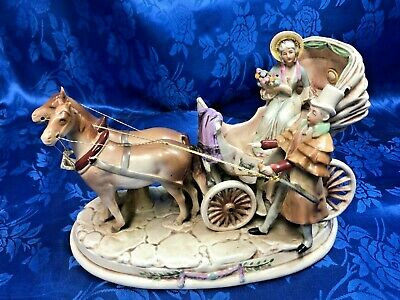 Antique Porcelain Horse Drawn Carriage Coach Victorian Figurine Statue Germany