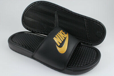 f60c907539ad Nike Benassi Jdi Black gold Metallic Sport Sandals Slides Swoosh Us Mens  Sizes
