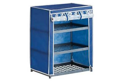 3 Drawer Drawers Shelf Canvas Metal Storage Unit Wardrobe Girls Blue Robot New