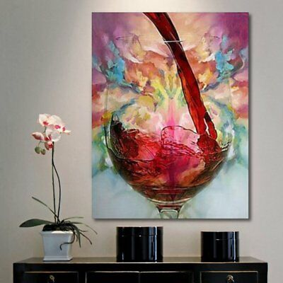 Abstract Red Wine Glass Oil Painting Canvas Wall Art Printed Pictures Home