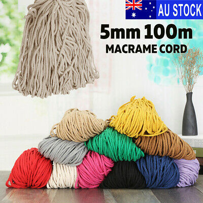 5mm 100m Natural Cotton String Twisted Cord Craft Macrame Artisan Rope Craft AU