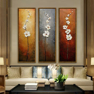 3 Panel Modern Painting Colorful Flower Wall Picture Unframed Canvas Print