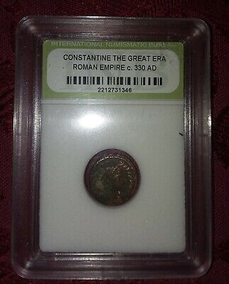 Slabbed Roman Imperial Constantine The Great Era Ancient Bronze Coin c 300 A.D.