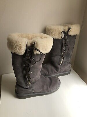 d57ad6babe8 UGG AUSTRALIA UPSIDE Tall Grey Suede Boots Women's Size 10