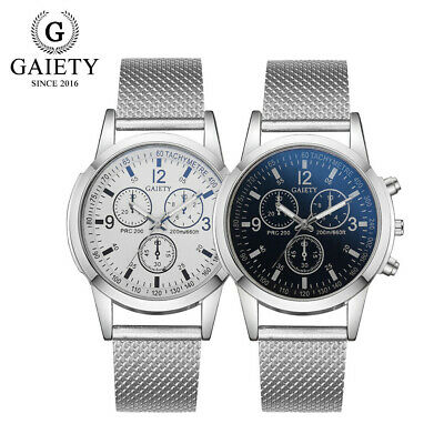 Luxury Men's Military Watches Analog Quartz Stainless Steel Big Dial Wrist Watch