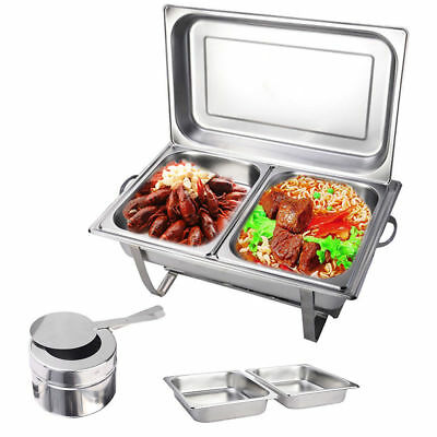 9L 2 x 4.5L Trays Bain Marie Chafing Dish Stainless Steel Buffet Food Warmer