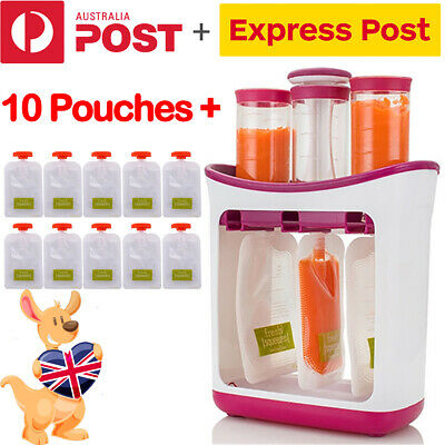 Fruit Maker Dispenser Station + 10pc Storage Infant Baby Feeding Squeeze Toddler