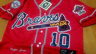 d2c81817f New wTag Atlanta Braves  10 Chipper Jones Throwback 2patches sewn RED Jersey  HOF