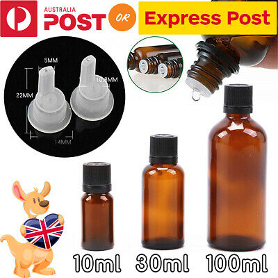 10/30/100ML Amber Glass Essential Oil Bottle Dropper Orifice Reducer Container