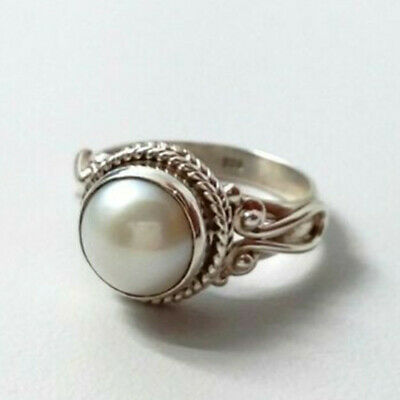 Antique White Pearl Women Wedding Engagement Ring Silver Jewelry Size 6-10