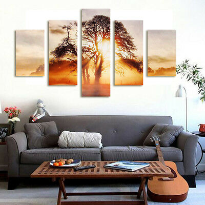 5x Modern Sunset Canvas Print Art Oil Painting Wall Picture Home Decor Unframed