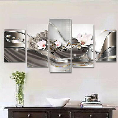 Framed 5Pcs Abstract Flower Giclee Canvas Print Art Painting Wall Picture