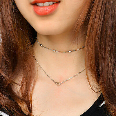 Necklace double layer heart chain multilayer choker pendant gold silver Hot UK