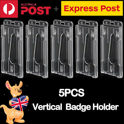 5 x Clear Vertical Hard Plastic Business ID Card Badge Holder Double-sided NEW