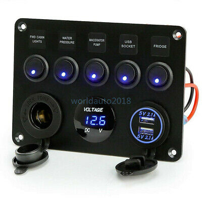 AU Switch Panel 12V USB ON-OFF Toggle 5 GANG Blue LED Rocker for Car Boat Marine