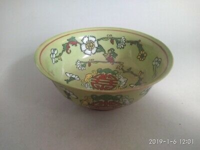 Chinese Old Porcelain Canary yellow Pastel Bowl Hand-painted Qianlong Mark