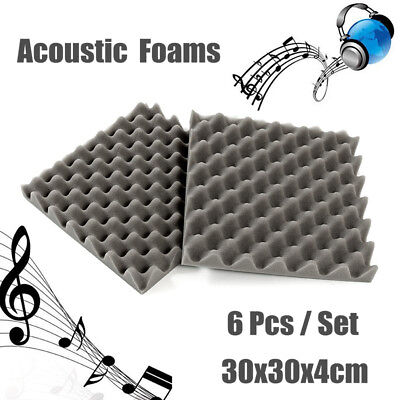 6Pcs Acoustic Soundproofing Foam Tiles Convoluted Egg Profile Studio 30x30x4cm !