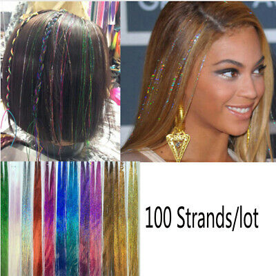 Streak Clubbing Hair Extension Hair Tinsel  Glitter Rainbow  Color Bling Silk