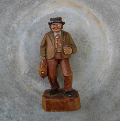 ANRI ITALY CARVED WOOD MAN WITH SACK BAG 1930's-1940's