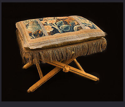 Mid-Century Wooden Velvet Upholstered Folding Taburet W 17th C Tapestry Cushion