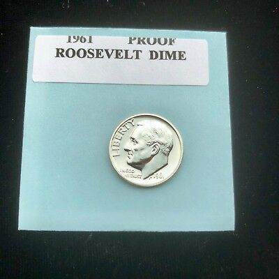 "1961 Proof Roosevelt Gem Bu.Silver Dime. ""With Mint Luster"""