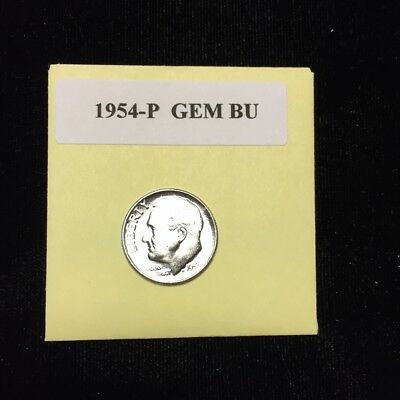 "1954-P Silver Roosevelt Dime Choice/Gem Bu.With ""Mint Luster"""